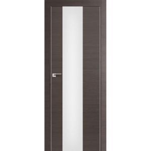 Дверь 15Z Грей Кроскут ст. триплекс белый, кромка хром с 2х сторон
