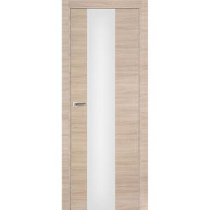 Дверь 15Z Капучино Кроскут ст. триплекс белый, кромка хром с 2х сторон