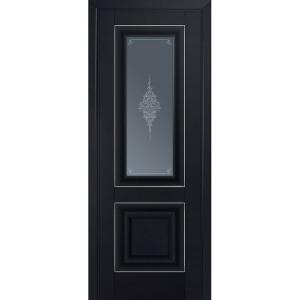 Дверь 28U Черный матовый серебро стекло графит