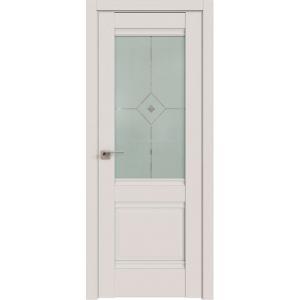 Дверь 2U ДаркВайт стекло узор матовое с фьюзингом