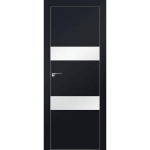 Дверь 34Е Черный матовый, стекло белый лак, кромка матовая с 4х ст.
