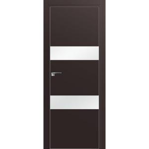 Дверь 34Е Темно-коричневый матовый, стекло белый лак, кромка матовая с 4х ст.