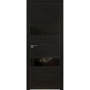 Дверь 34ZN Дарк Браун, стекло черный лак, кромка алюминиевая матовая с 4х сторон