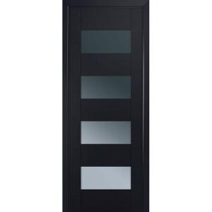 Дверь 46U Черный матовый стекло графит