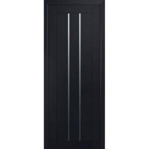 Дверь 49U Черный матовый стекло графит