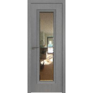 Дверь 51ZN Грувд серый, вертикальное направление структуры, ст. зеркало патина