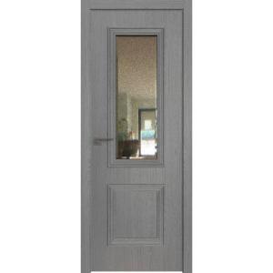 Дверь 53ZN Грувд серый, вертикальное направление структуры, ст. зеркало патина