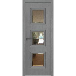 Дверь 55ZN Грувд серый, вертикальное направление структуры, ст. зеркало патина