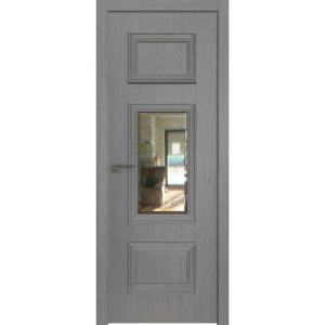Дверь 57ZN Грувд серый, вертикальное направление структуры, ст. зеркало патина