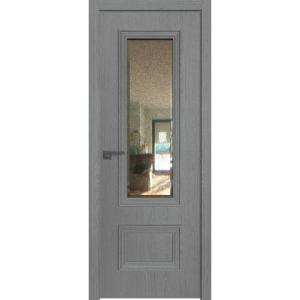 Дверь 59ZN Грувд серый, вертикальное направление структуры, ст. зеркало патина