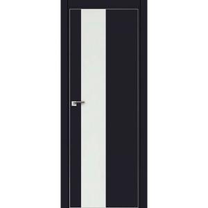 Дверь 5Е Черный матовый, стекло белый лак, кромка матовая с 4х ст.