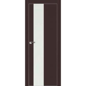 Дверь 5Е Темно-коричневый матовый, стекло белый лак, кромка матовая с 4х ст.
