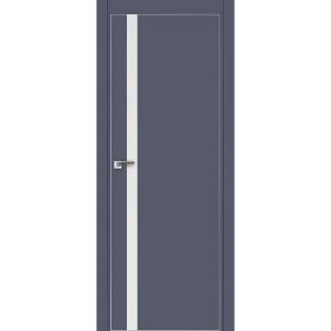 Дверь 6Е Антрацит, стекло белый лак, кромка матовая с 4х ст.