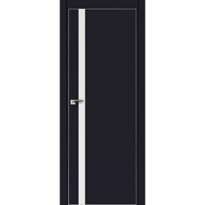 Дверь 6Е Черный матовый, стекло белый лак, кромка матовая с 4х ст.