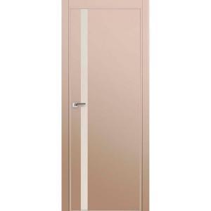 Дверь 6Е Капучино сатинат, стекло белый лак, кромка матовая с 4х ст.