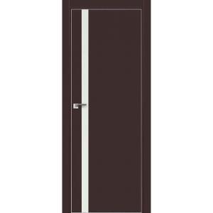 Дверь 6Е Темно-коричневый матовый, стекло белый лак, кромка матовая с 4х ст.