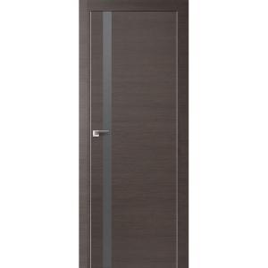 Дверь 6Z Грей Кроскут ст. серебро матлак, матовая алюминиевая кромка с 4х сторон