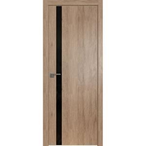 Дверь 6ZN Салинас Светлый, стекло черный лак, кромка ABS в цвет полотна с 4-х сторон