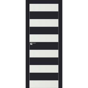 Дверь 8Е Черный матовый, стекло белый лак, кромка матовая с 4х ст.