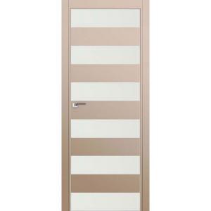 Дверь 8Е Капучино сатинат, стекло белый лак, кромка матовая с 4х ст.