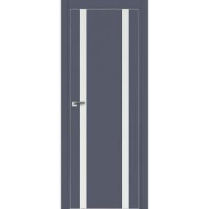Дверь 9Е Антрацит, стекло белый лак, кромка матовая с 4х ст.