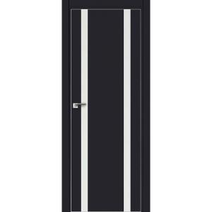 Дверь 9Е Черный матовый, стекло белый лак, кромка матовая с 4х ст.