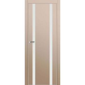 Дверь 9Е Капучино сатинат, стекло белый лак, кромка матовая с 4х ст.
