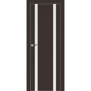 Дверь 9Е Темно-коричневый матовый, стекло белый лак, кромка матовая с 4х ст.